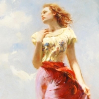 """Pino Signed """"Wind Swept"""" Artist Embellished Limited Edition 24x40 Giclee on Canvas at PristineAuction.com"""