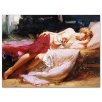 "Pino Signed ""Dreaming in Color"" Artist Embellished Limited Edition 38x28 Giclee on Canvas"