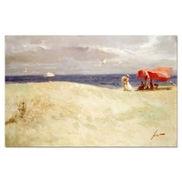 "Pino Signed ""White Sand"" Artist Embellished Limited Edition 40x26 Giclee on Canvas"