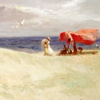 """Pino Signed """"White Sand"""" Artist Embellished Limited Edition 40x26 Giclee on Canvas at PristineAuction.com"""