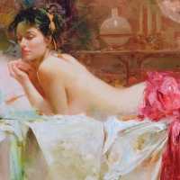 "Pino Signed ""Pensive"" Artist Embellished Limited Edition 40x26 Giclee on Canvas at PristineAuction.com"