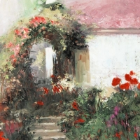 """Pino Signed """"Colorful Archway"""" Artist Embellished Limited Edition 38x26 Giclee on Canvas at PristineAuction.com"""