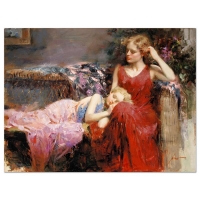 """Pino Signed """"A Mother's Love"""" Artist Embellished Limited Edition 40x30 Giclee on Canvas"""