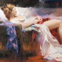 "Pino Signed ""Sweet Repose"" Artist Embellished Limited Edition 40x30 Giclee on Canvas at PristineAuction.com"