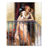 "Pino Signed ""At the Balcony"" Artist Embellished Limited Edition 32x40 Giclee on Canvas"
