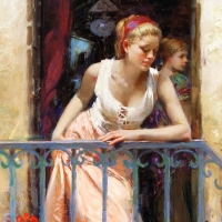 "Pino Signed ""At the Balcony"" Artist Embellished Limited Edition 32x40 Giclee on Canvas at PristineAuction.com"