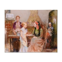 "Pino Signed ""Generations of Faith"" Artist Embellished Limited Edition 48x38 Giclee on Canvas"