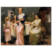 "Pino Signed ""The Gathering"" Artist Embellished Limited Edition 36x48 Giclee on Canvas"