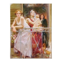 "Pino Signed ""Waiting on the Balcony"" Artist Embellished Limited Edition 36x48 Giclee on Canvas"