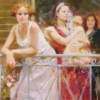 "Pino Signed ""Waiting on the Balcony"" Artist Embellished Limited Edition 36x48 Giclee on Canvas at PristineAuction.com"