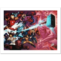 """Stan Lee Signed """"Avengers Academy #11"""" Limited Edition 24x18 Giclee on Canvas by Tom Raney and Marvel Comics"""