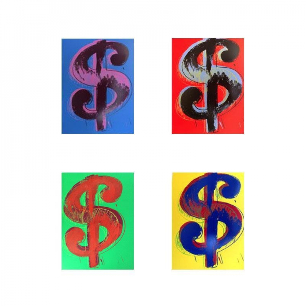 """Andy Warhol """"$ (Dollar signs)"""" Limited Edition 15x19 Suite of (4) Silk Screen Prints from Sunday B Morning at PristineAuction.com"""