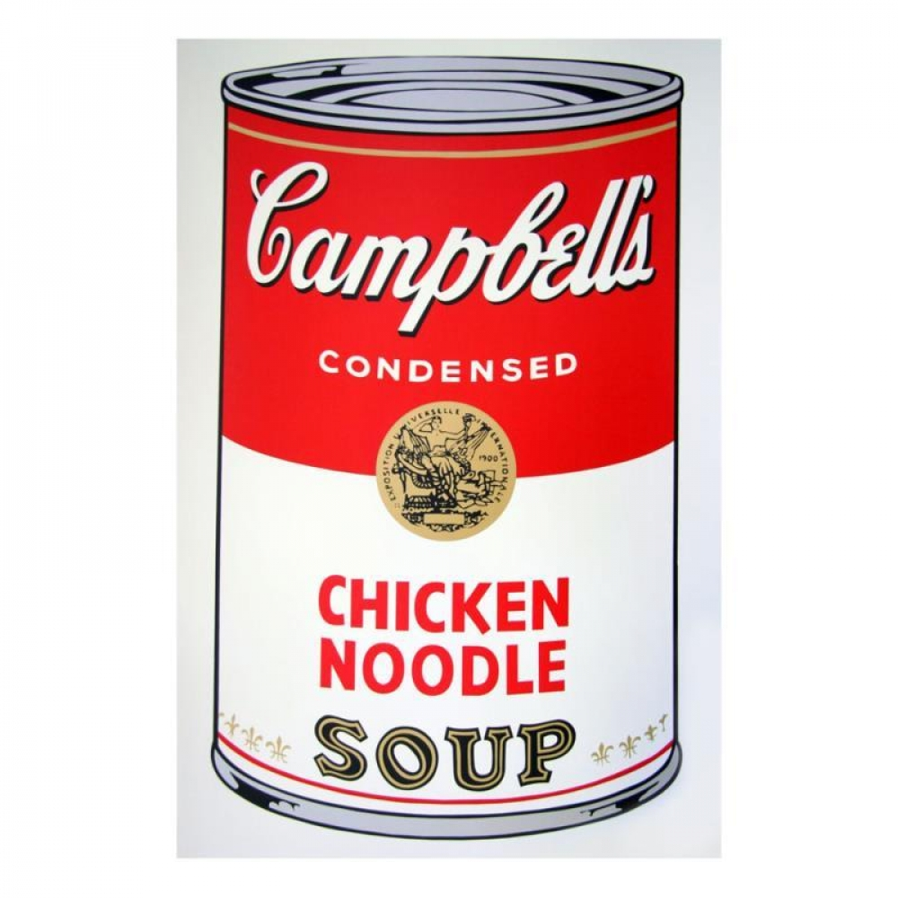 """Andy Warhol """"Soup Can 11.45 (Chicken Noodle)"""" 23x23 Silk ..."""