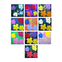 "Andy Warhol ""Flowers Portfolio"" 36x36 Suite of (10) Silk Screen Prints from Sunday B Morning"
