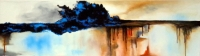 """Eder Manero Signed """"Living Thing"""" 11x39 Oil Painting on Canvas (PA LOA)"""