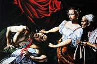 "Hector Monroy Signed ""Judith Slaying Holofernes"" 24x36 Oil Painting on Canvas (PA LOA)"