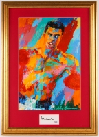 Muhammad Ali Signed 19.75x27.75 Custom Framed Cut Display with Leroy Neiman Print (PSA LOA)