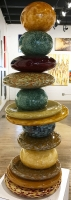"""Earth Amber Pohacu"" 12x31x12 Original Glass Sculpture by Andrew & Robert Madvin"