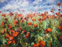 """Happy Poppies"" 40x30x2 Original Floral Painting by Lyudmila Agrich"