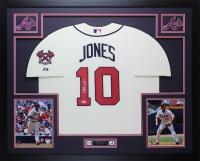 "Chipper Jones Signed Braves 35"" x 43"" Custom Framed Jersey (PSA COA) at PristineAuction.com"
