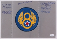 WII 8th United States Army Air Force 8x12 Original Hand-Painted Nose Art Panel With Extensive Inscriptions Signed by (5) with Bud Anderson, Les Schrenk, James Mullinax, Bernard Nolan  (JSA COA)