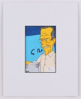 "George H. W. Bush Signed Hand Painted ""The Simpsons"" 8x10 Custom Matte Artwork Display (JSA COA)"