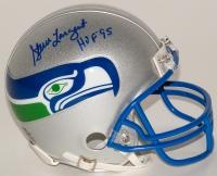 "Steve Largent Signed Seahawks Throwback Mini-Helmet Inscribed ""HOF 95"" (Schwartz COA)"