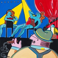 "Rina Maimon Signed ""Broadway"" 24x26 Original Acrylic Painting on Canvas at PristineAuction.com"