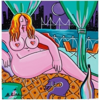 "Rina Maimon Signed ""Nude At Midnight"" 24x24 Original Acrylic Painting on Canvas at PristineAuction.com"