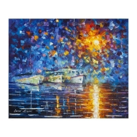 """Leonid Afremov Signed """"Yachts By The Sun"""" 20x24 Original Oil Painting on Canvas"""