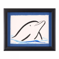 "Wyland Signed ""Dolphin"" 16x20 Custom Framed Original Watercolor Painting at PristineAuction.com"