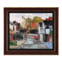 "Alex Zwarenstein Signed ""Old Sodbury Gloucestershire"" 26x30 Custom Framed Original Oil Painting on Canvas"