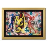 "Mark Kostabi Signed ""Yellow Man"" 25x28 Custom Framed Original Painting on Canvas"