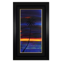 "Wyland Signed ""Sunset Palms"" 25x40 Custom Framed Original Oil Painting on Canvas"