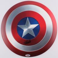 Stan Lee Signed Captain America Metal Shield (PSA COA)