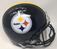 "Antonio Brown Signed Steelers LE Full-Size Authentic On-Field Helmet Inscribed ""17 Rec 284 Yds 11-18-15"" (Steiner COA)"
