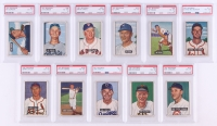 Lot of (11) 1951 Bowman Baseball Cards with #121 Gerry Staley RC, #158 Chuck Diering, #81 Carl Furillo, #63 Bob Dillinger (PSA 3-4)