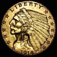 1914 $2.50 Indian Head Quarter Eagle Gold Coin (High Grade Condition)
