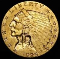 1925 $2.50 Indian Head Quarter Eagle Gold Coin