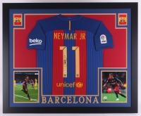 Neymar Signed Barcelona 35.5x43.5 Custom Framed Jersey (PSA COA)
