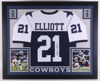 Ezekiel Elliott Signed Cowboys 35x43 Custom Framed Throwback Jersey (JSA COA)