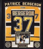 Patrice Bergeron Signed Bruins 36x42 Custom Framed Authentic Rookie Jersey Display (JSA COA & Bergeron Hologram)
