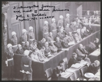 "John E. Dolibois Signed Nuremberg Trials 8x10 Photo Inscribed ""I Interrogated Goering and Most of These Prisoners"" & "" Captain, MIC US ARMY""(JSA COA)"