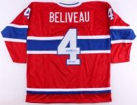"""Jean Beliveau Signed Canadiens Captains Jersey Inscribed """"H.O.F. 1972"""" (JSA COA)"""