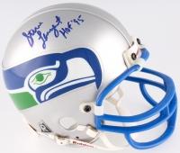 "Steve Largent Signed Seahawks Throwback Mini-Helmet Inscribed ""HOF 95"" (JSA COA)"