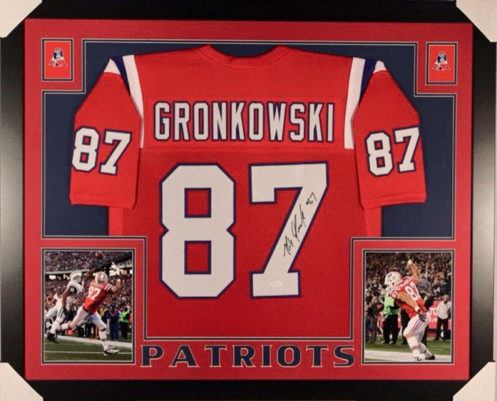 806a19460 ... hot rob gronkowski signed patriots 36x44 custom framed throwback jersey  display jsa coa at pristineauction 50d3d