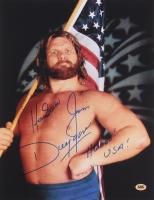 """Hacksaw Jim Duggan Signed 11x14 Photo Inscribed """"Hoooo! USA!"""" (CAS)"""