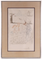 """Salvador Dali Signed """"Paris and Helen of Troy"""" 18.25x25.5 Custom Framed Limited Edition Etching (PA LOA)"""