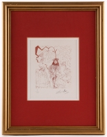 "Salvador Dali Signed ""Ben Franklin"" 13.75x18 Custom Framed Limited Edition Etching (PA LOA)"