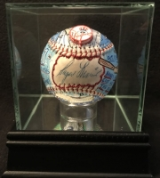 Roger Maris Signed Hand-Painted OAL Baseball by Charles Fazzino Limited Edition #1/1 With High Quality Display Case (PSA LOA & JSA LOA)